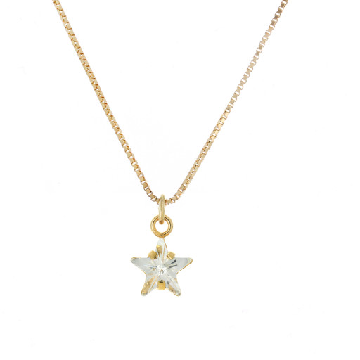 smalll star crystal clear necklace Krystal London Gold Plated Swarovski front on.jpg