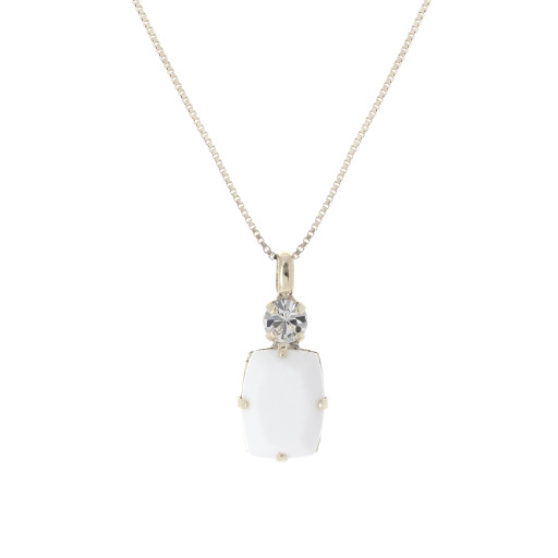 valentina square rectangle necklace white chalk  krystal london swarovski Close upSilver Plated.jpg