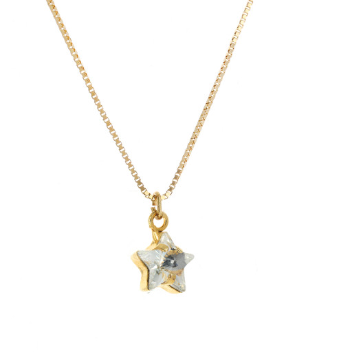 smalll star crystal clear necklace Krystal London Gold Plated Swarovski side on.jpg