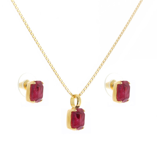 rough red Emerald crystal set necklace and earrings krystal london gold plated front on.jpg