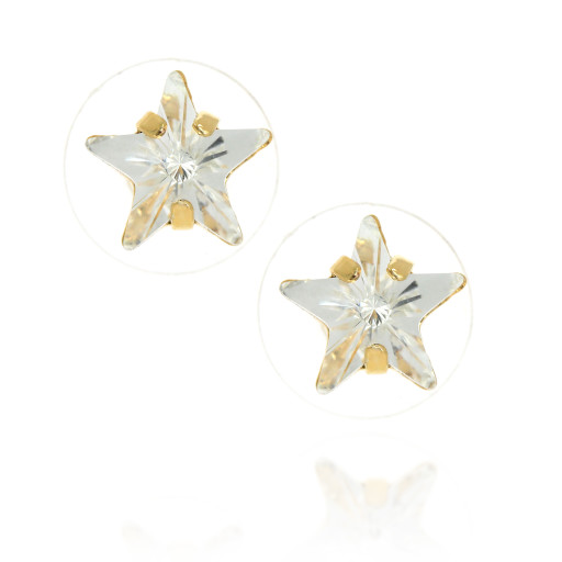 smalll star crsyatl clear earrings Krystal London Gold Plated Swarovski.jpg