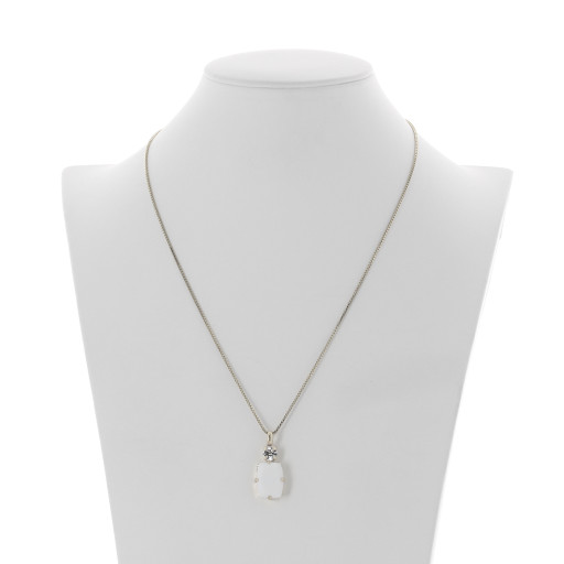 valentina square rectangle necklace white chalk  krystal london swarovski front on Silver Plated.jpg