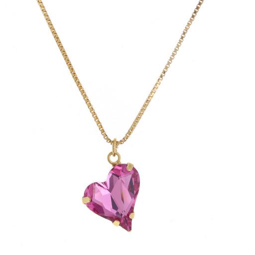 Big heart necklace pink 17mm-25mm Krystal London Gold Plated Swarovski front on.jpg
