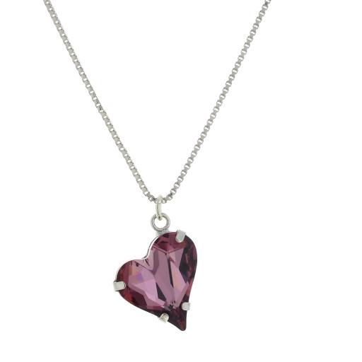 Big heart necklace dark purple 17mm-25mm Krystal London silver Plated Swarovski front on.jpg