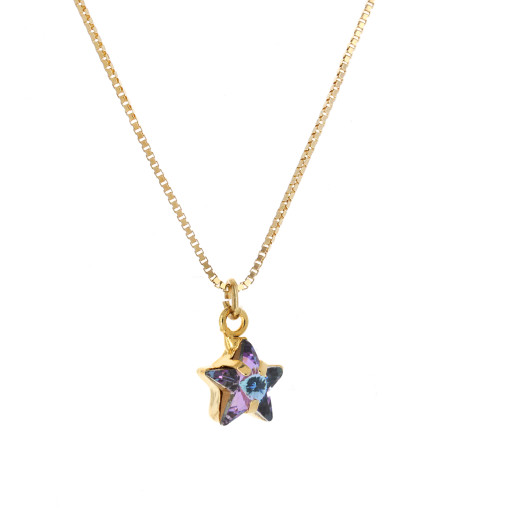 smalll star purple rainbow necklace Krystal London Gold Plated Swarovski side on.jpg