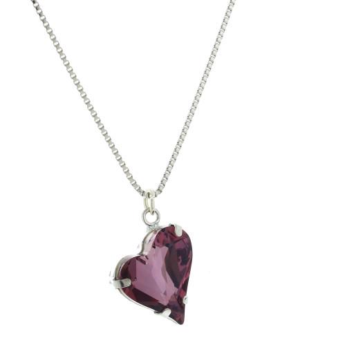 Big heart necklace dark purple 17mm-25mm Krystal London silver Plated Swarovski.jpg
