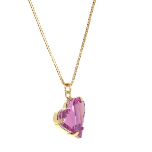 Big heart necklace pink 17mm-25mm Krystal London Gold Plated Swarovski far side on.jpg