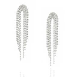 Dangle statment Silver and Crystal Clear waterfall earrings Krystal London far side on.jpg