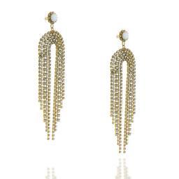 Long Dangle statment Gold and White chalk waterfall earrings Krystal London Side On.jpg