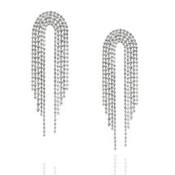 Silver And Crystal Clear Statement Waterfall Earrings