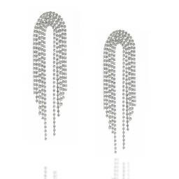 Dangle statment Silver and Crystal Clear waterfall earrings Krystal London side on.jpg