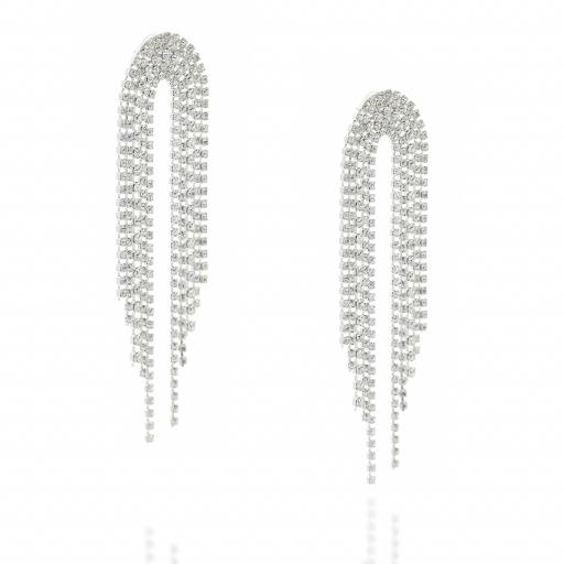 Dangle statment Silver and Crystal Clear waterfall earrings Krystal London far side on.jpg