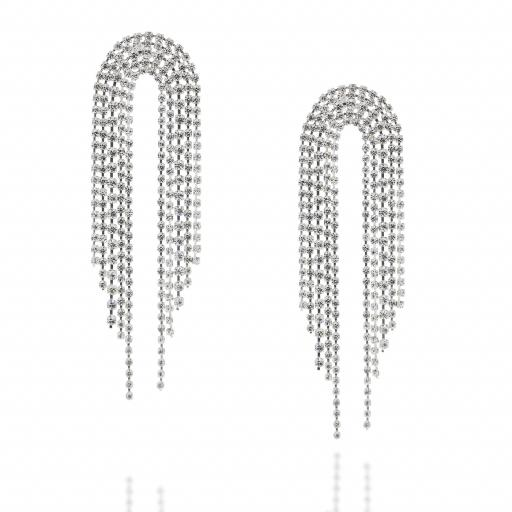Dangle statment Silver and Crystal Clear waterfall earrings Krystal London front on.jpg