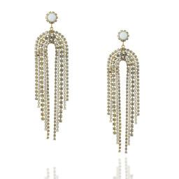 Long Dangle statment Gold and White chalk waterfall earrings Krystal London Front On.jpg