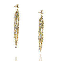 Long Dangle statment Gold and White chalk waterfall earrings Krystal London far Side On.jpg