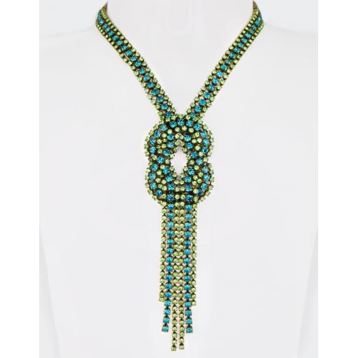 Vintage Pauline Necklace - Blue Zircon Peridot Mix