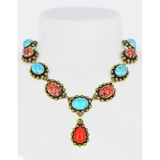 Vintage Cynthia Necklace - Coral Turquoise Matrix