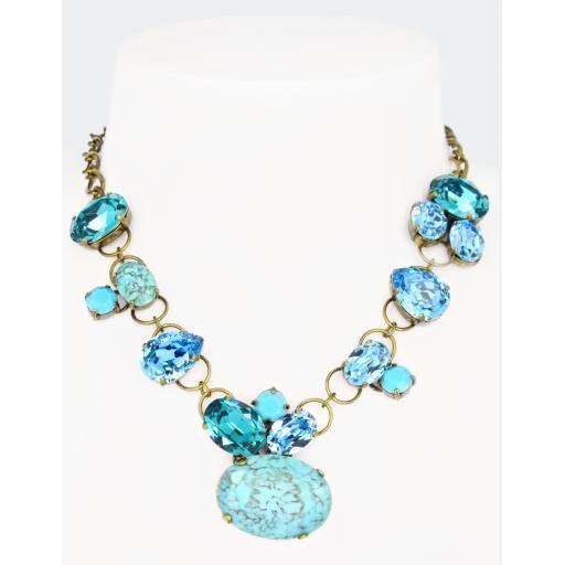 Vintage Rachel Necklace - Turquoise Aqua Mix