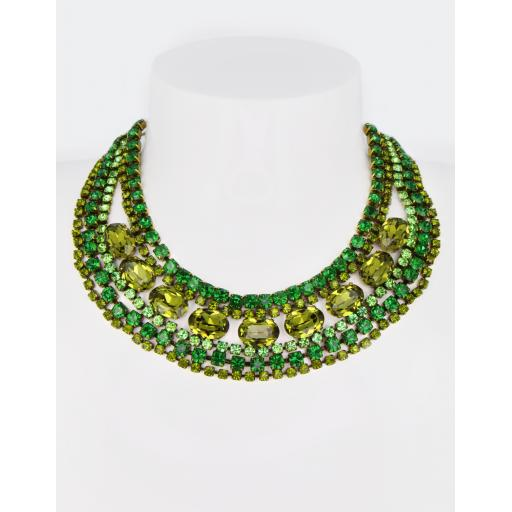 Vintage Christine Necklace - Emerald Olive Mix