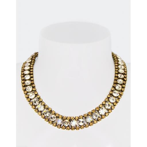 Vintage Celine Rail Track Necklace - Crystal Topaz Mix