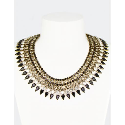 Vintage Cleopatra Necklace - Jet Black Diamond Mix