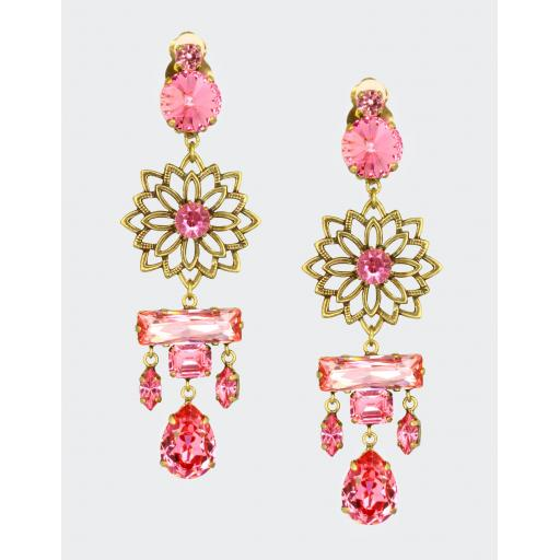 Filigree Drop Abstract Earring - Rose Pink