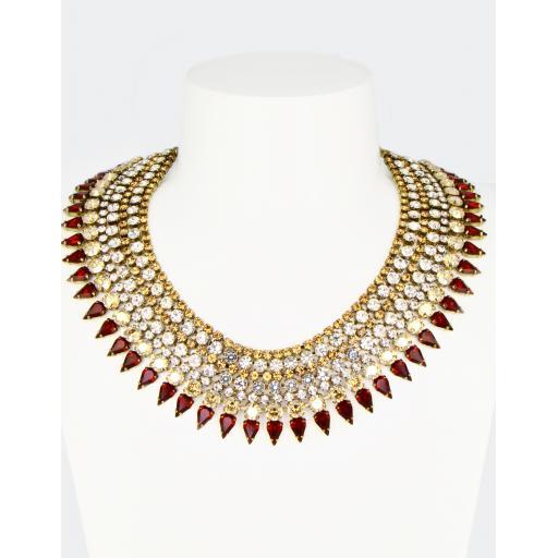 Vintage Cleopatra Necklace - Crystal Topaz Siam Mix