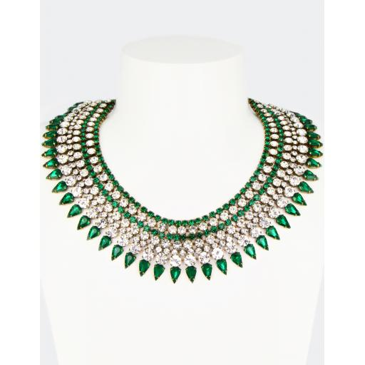 Vintage Cleopatra Necklace - Crystal Emerald Mix