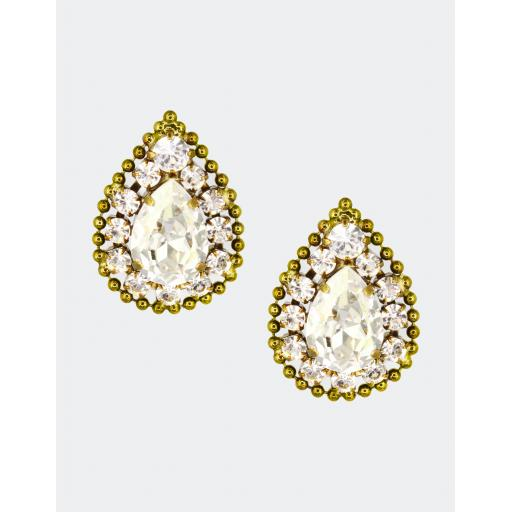Beaded Surround Earring - Crystal