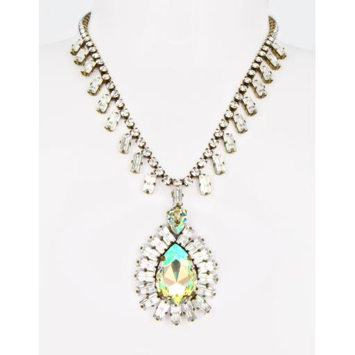 Vintage Alexandra Necklace - Luminous Green Crystal Mix