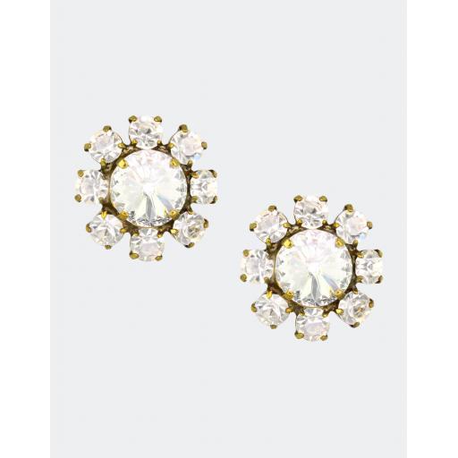 Vintage Floral Earring - Crystal