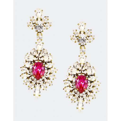 Vintage Victoria Earring - Fuchsia Crystal Mix