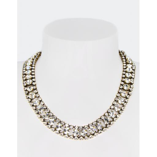 Vintage Celine Rail Track Necklace - Crystal