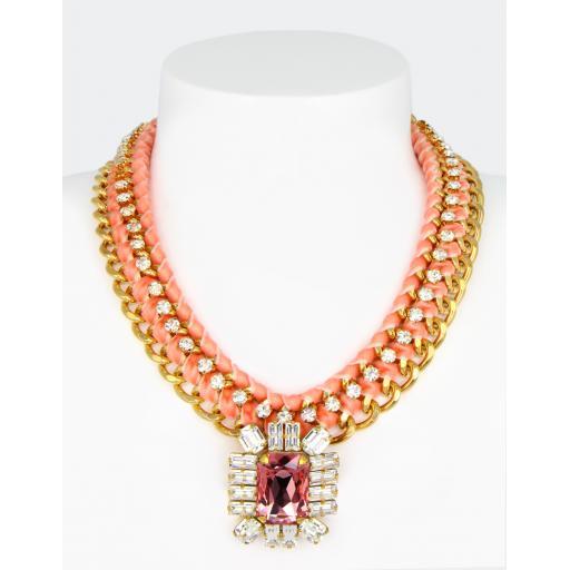Vintage Henna Necklace - Crystal Pink Mix
