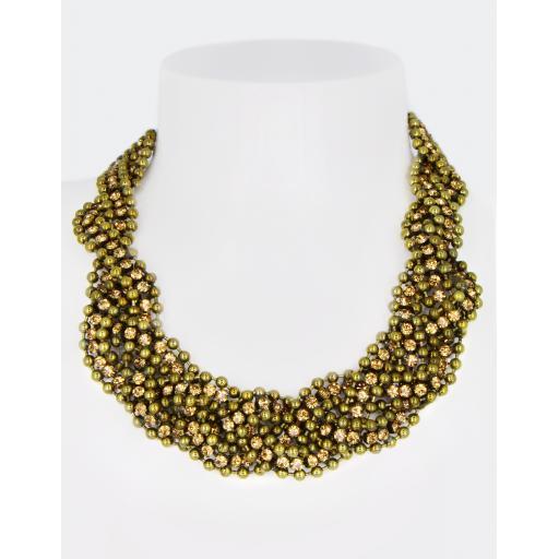 Vintage Eva Beaded & Topaz Necklace
