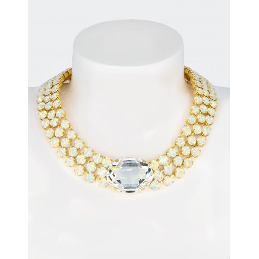 Audrey Statement Necklace In White Opal