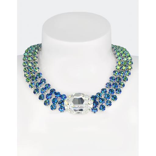 Audrey Statement Necklace In Shimmering Blue